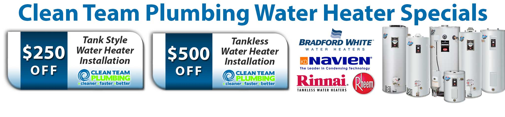Clean Team Plumbing Water Heater Special